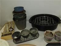 Roasting Pan, Glassware, Baskets, etc.