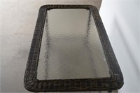 Glass & Resin Wicker Coffee Table