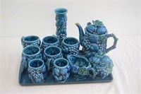 (12) Piece Tea Set with Tray and Vase