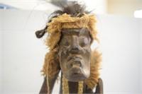 Hand Carved Wood African Warrior (Cracks,