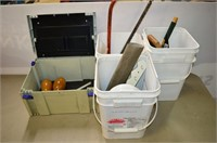 (3) Pails and Storage Box of Assorted Items