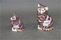 """2 Royal Crown Derby cats - 5"""" x 3.5"""""""