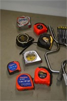 Tray of Assorted Sockets, Ratchets, Tape measures
