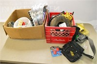 Crate and Box of Assorted Hardware