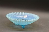 Blue fluted glass bowl