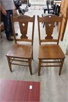 2 oak chairs