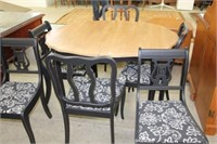 Refinished dining table, 6 chairs & 2 leaves