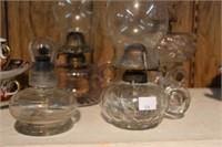 3 finger oil lamps & small oil lamp