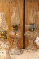 4 miniature oil lamps - 10""
