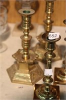 """2 pairs of brass candle holders - 8"""""""