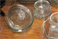 Group of Pyrex bake dishes, pie plates, etc.