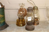 3 oil lamps (2 skater & 1 wall mount) - 8""