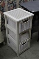 Wood & wicker storage unit