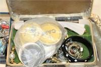 Tray of Zippo lighters, costume jewelry, etc.