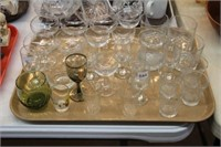 2 trays of glasses, mugs, etc.