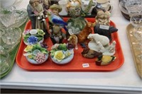 Tray of China florals, figurines, etc.