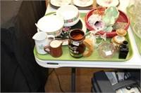Tray of collector plates, creamers, etc.
