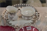 Royal Albert cream & sugar & cranberry dishes