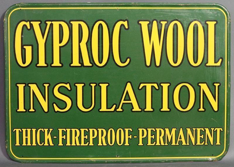 GYPROC WOOL INSULATION SIGN | Hodgins Art Auctions Ltd