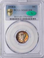10C 1938-S PCGS MS68+ FB CAC