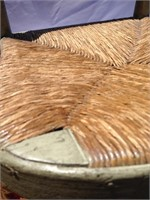 Wood chair with wicker seat