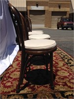 Set of wood dining room chairs