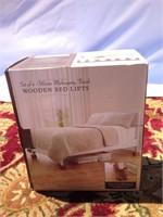 Set of Warm Mahogany Finish Wooden Bed Lifts