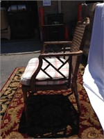 Wood parlor chair with cushion