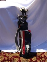 Ping golf club bag & assorted clubs