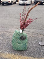 Green abstract vase with fish & faux floral accent