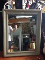 Gray framed mirror