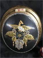 Encrusted Phoenix round plaque