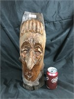 Quirky wood carved bust