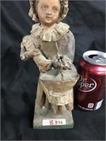 Antique girl with bonnet & basket figurine