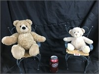Pair of plus bears on miniature chairs