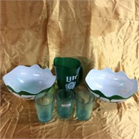 Green Turtle pitcher, cups, & bowls