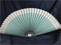 Large Asian green & gold colored fan
