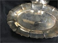 Vintage silver plated sauve boat & tray
