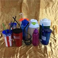 Assorted plastic drinkware