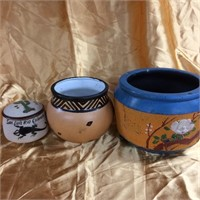 Assorted trio of clay bowls