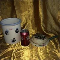 Dog treats jar & turtle figurine