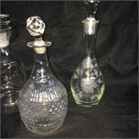 Assorted trio of decanters