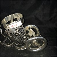 Pair of ornate glass holders