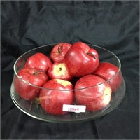 Glass bowl with faux apples