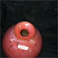 Red cermaic gourd vase
