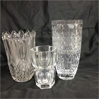 Trio of glass & crystal vases