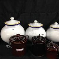 Assorted crocks & ceramic storage containers