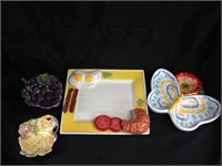 Assorted food themed servingware