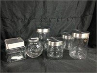Assorted glass jars with lids