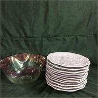 Purple bowl & decorative cat plates